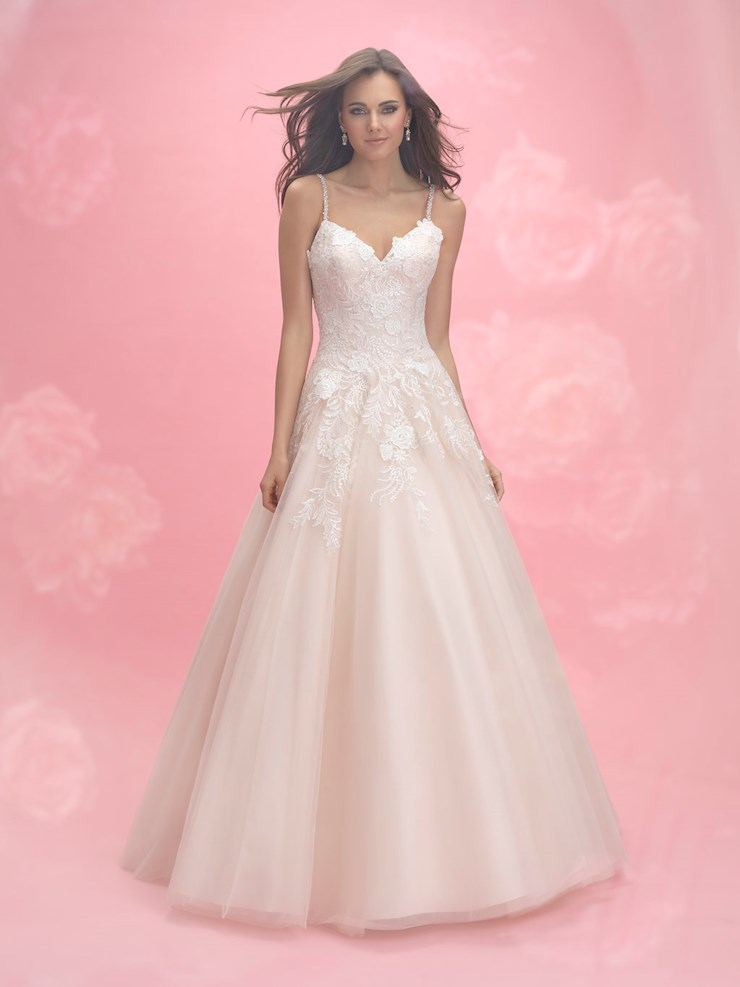 Allure Romance Style #3053 Thin Strap Sweetheart Floral Tulle Ballgown  Image