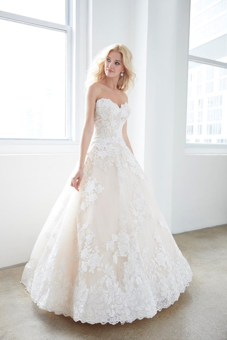 Madison James Style #MJ354 Strapless Rose Patterned Lace Ball Gown with Sweetheart Neckline  Image