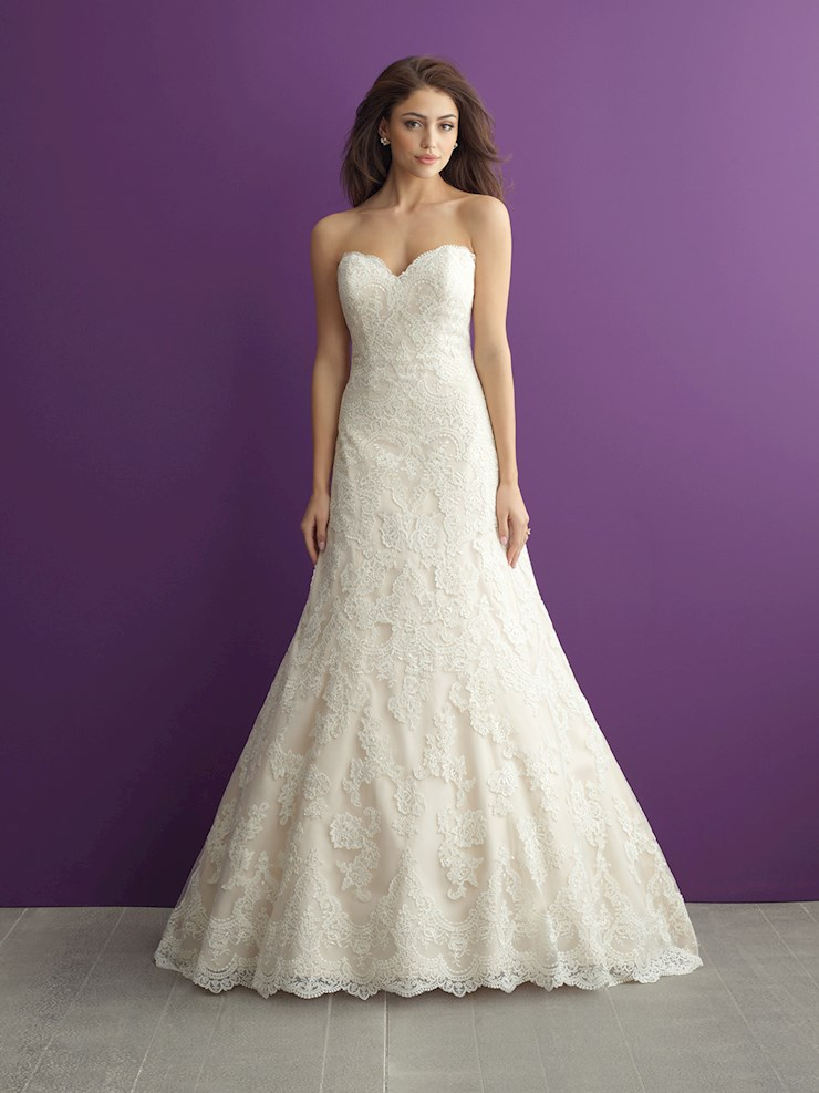 Allure Romance Style #2952 Lacy A-line Strapless Wedding Dress  Image