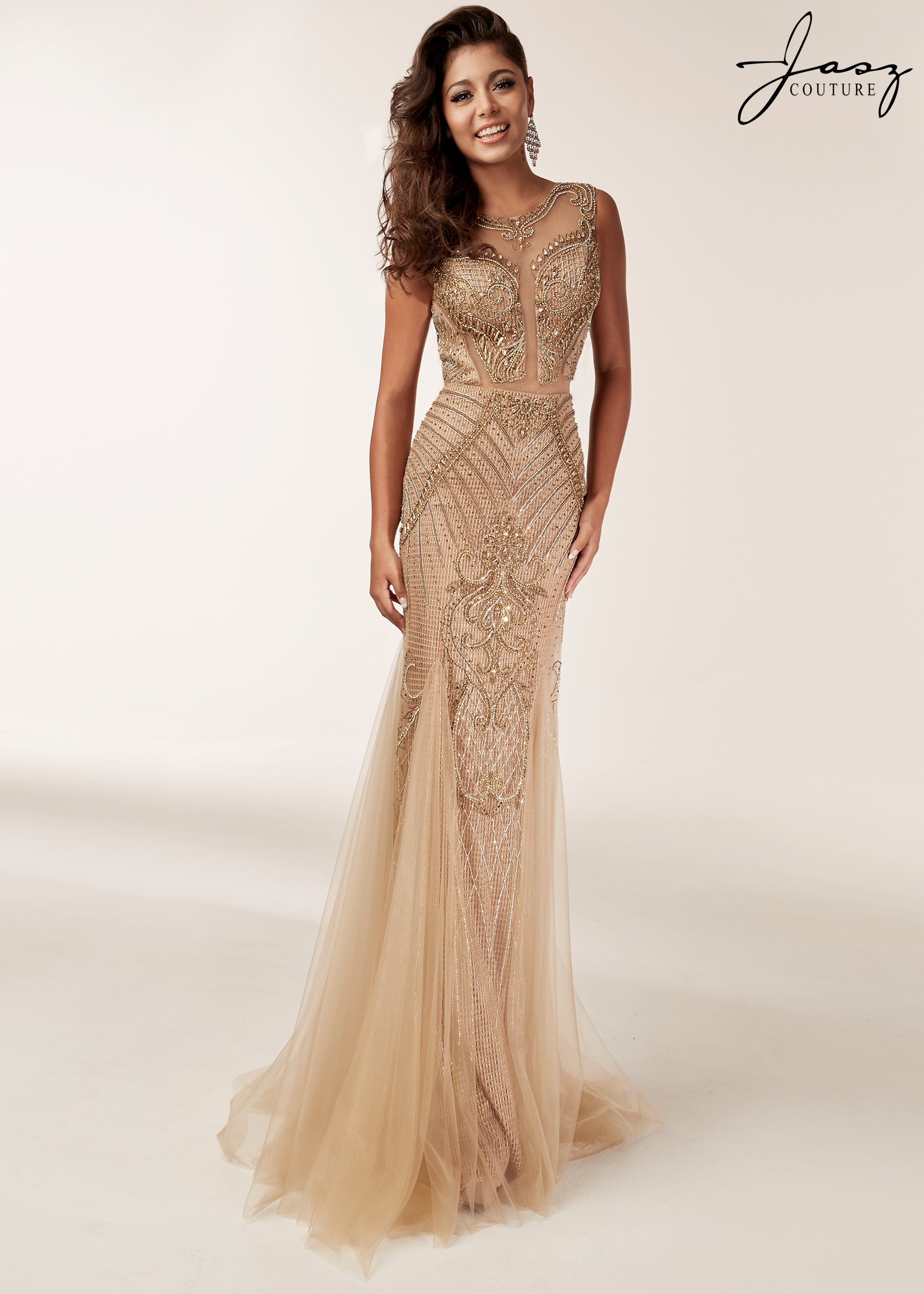 Jasz Couture - High Neck Sheer Panel Cut-Out Front Beaded With ...