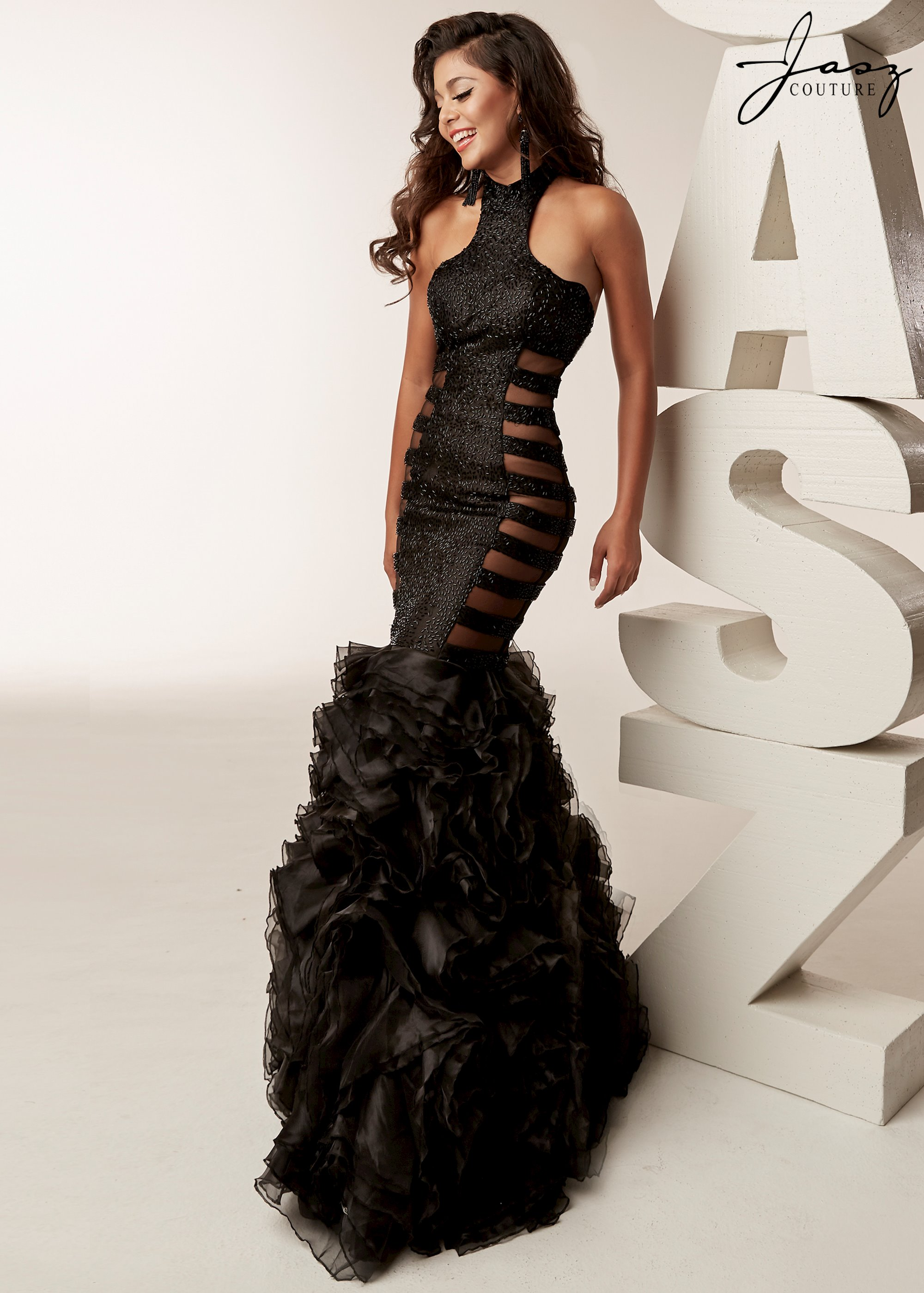 Jasz Couture - Inverted High Neck Halter Bugle Beaded Gown With ...