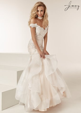 Jasz Couture Off The Shoulder Mermaid Fitted Lace And Stone Gown With Layered Sheer Ruffle Skirt-6219