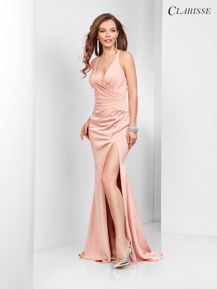 Open Back Satin Blush Pink Dress