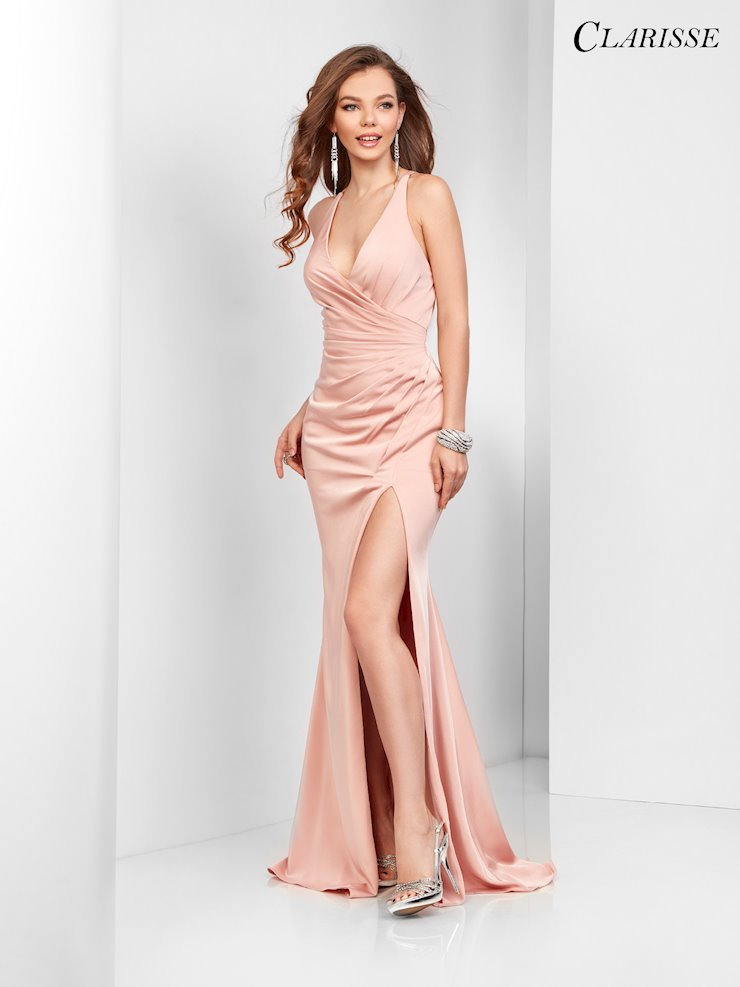 Clarisse Prom Dresses Open Back Satin Blush Pink Dress