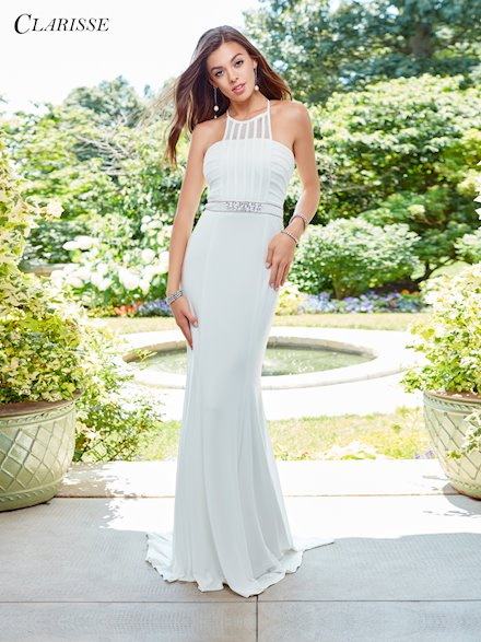 Ivory High Neck Formal Prom Dress