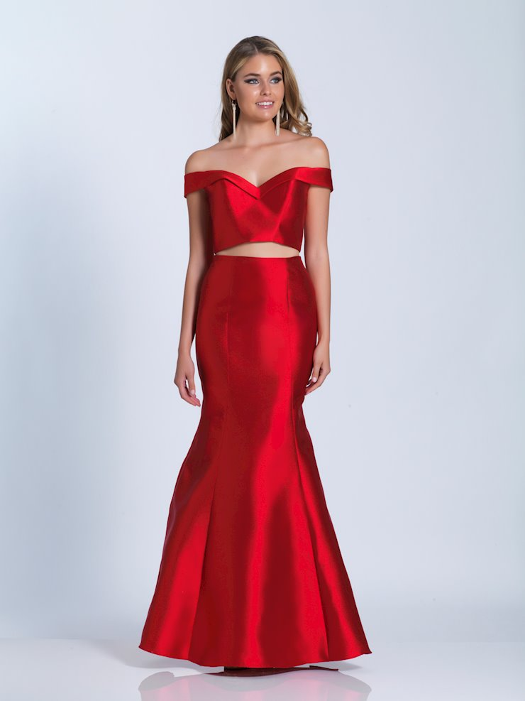 Dave & Johnny Prom Dresses Two Piece Red Mermaid Dress