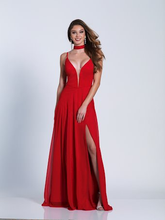 Dave & Johnny Prom Dresses Red V-Neck Formal Dress