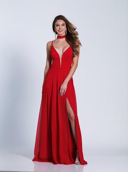 Red V-Neck Formal Dress