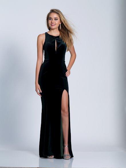 Hunter Green Velvet Prom Gown