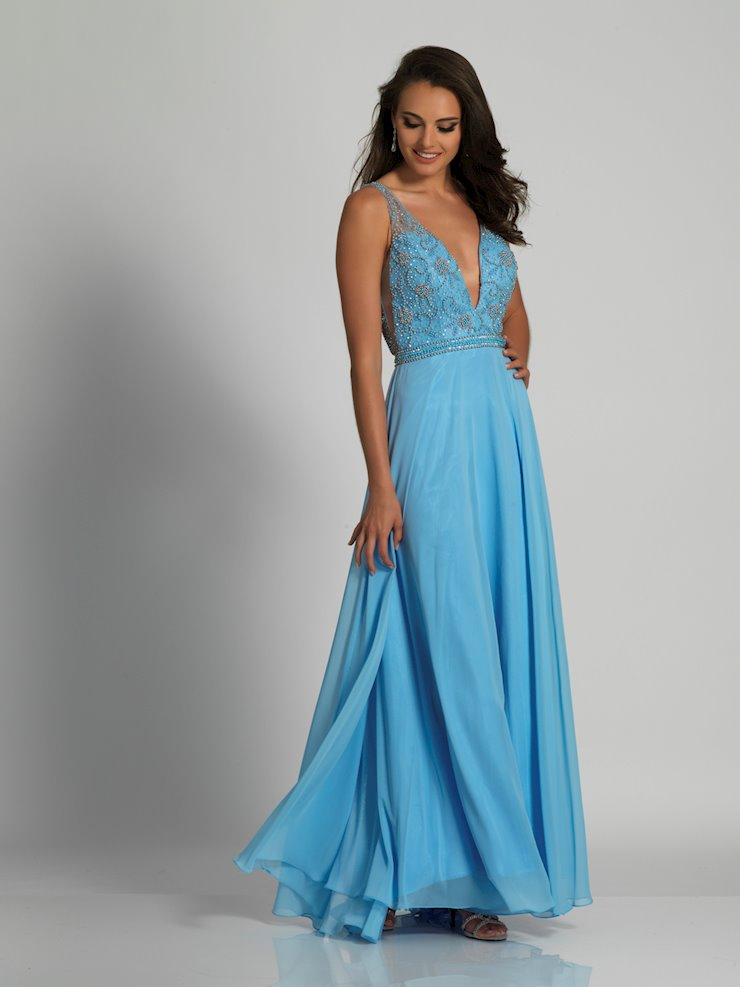 Dave & Johnny Prom Dresses Blue Chiffon Formal Dress
