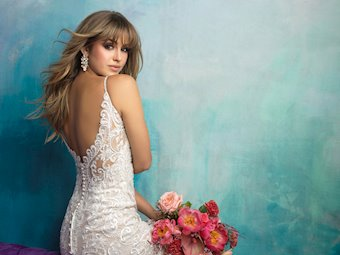 Allure Style #9501 Lace Sheath Wedding Dress with Scallop Neckline and Back Details