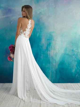 Allure Style #9510 Illusion Top A-line with Slit and an Illusion Beaded Back