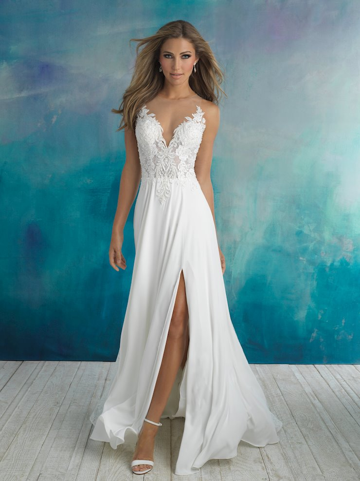 Allure Style #9510 Illusion Top A-line with Slit and an Illusion Beaded Back  Image