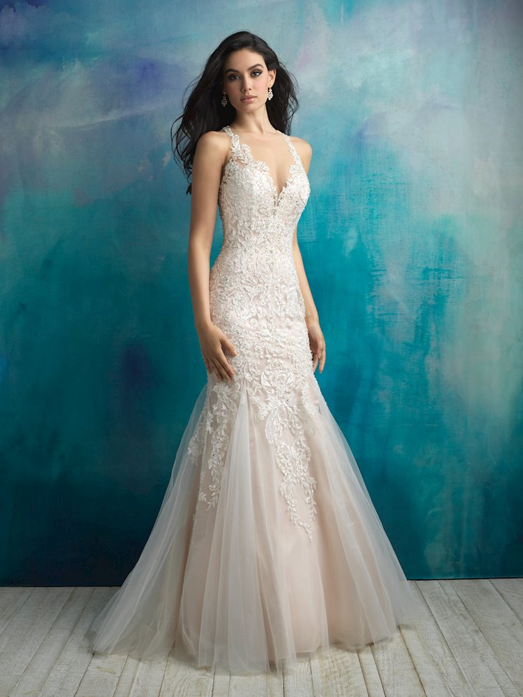 Allure Style #9511 Lace and Tulle Fit and Flare/Mermaid Wedding Dress with Dramatic Illusion Back Image