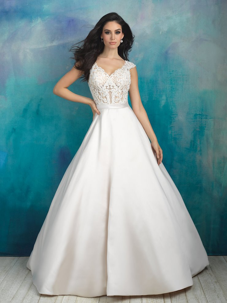 Allure Style #9517 Silk Mikado Ballgown with Beading Bodice, Cap Sleeves and Pockets Image