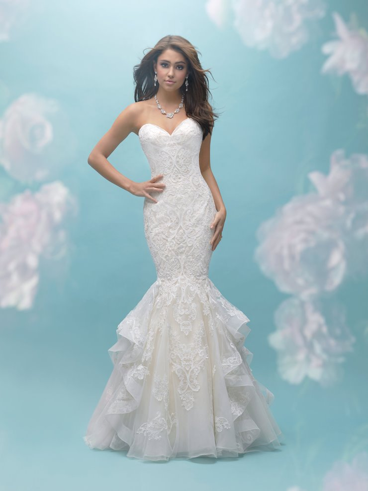 Allure Style #9456 Strapless Ruffled Lace Mermaid Wedding Dress  Image