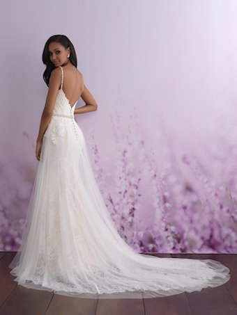 Allure Romance Style 3110 Lace Sheath V-neck Wedding Dress with Tulle Overskirt