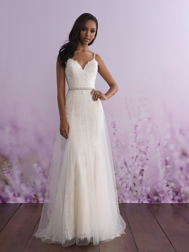 Allure Romance Style #3110 Lace Sheath V-neck Wedding Dress with Tulle Overskirt  Image