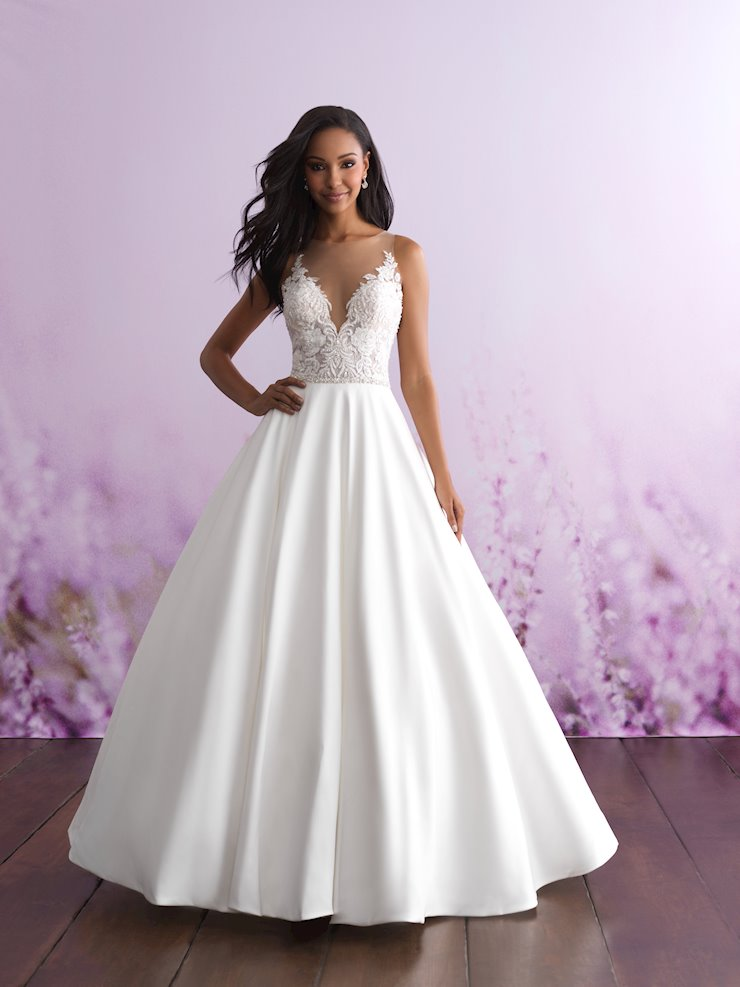 Allure Romance Style #3112 Illusion Lace and Pearl Bodice Ballgown with Silk Mikado Skirt  Image