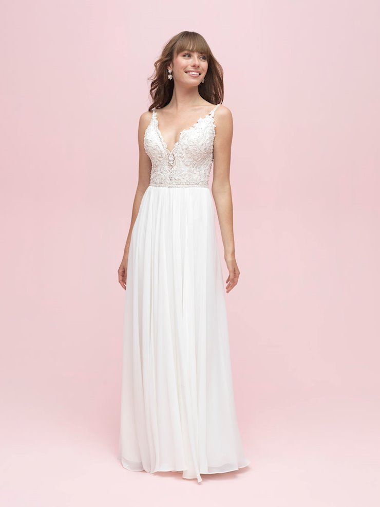 Allure Romance Style #3207 Beaded V neck A-line Wedding Dress with Flowy Chiffon Skirt Image