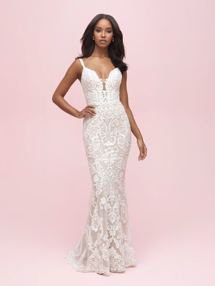 Allure Romance Style #3213 Modern Lace Sleeveless Lace Sheath Wedding Dress Image