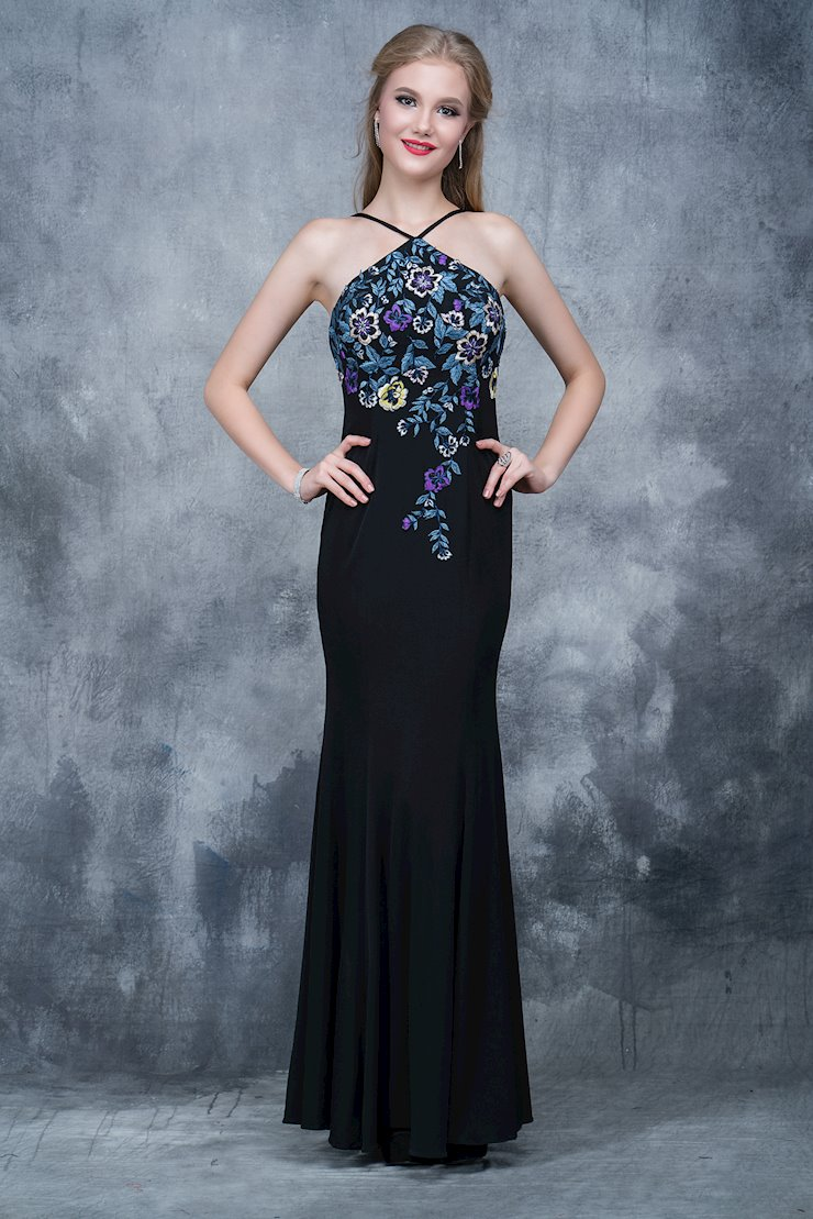 Nina Canacci Black Embroidered Prom Dress