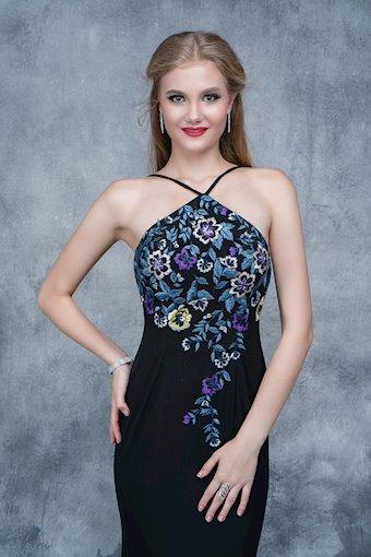 Nina Canacci Black Embroidered Prom Dress