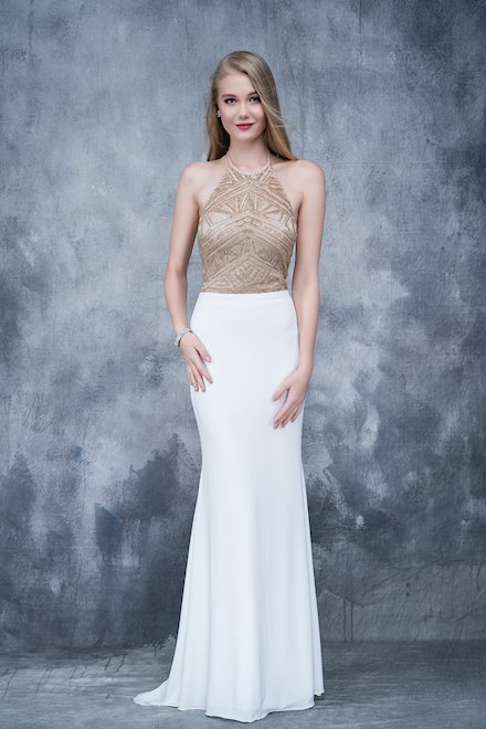High Neck Jersey Prom Dress