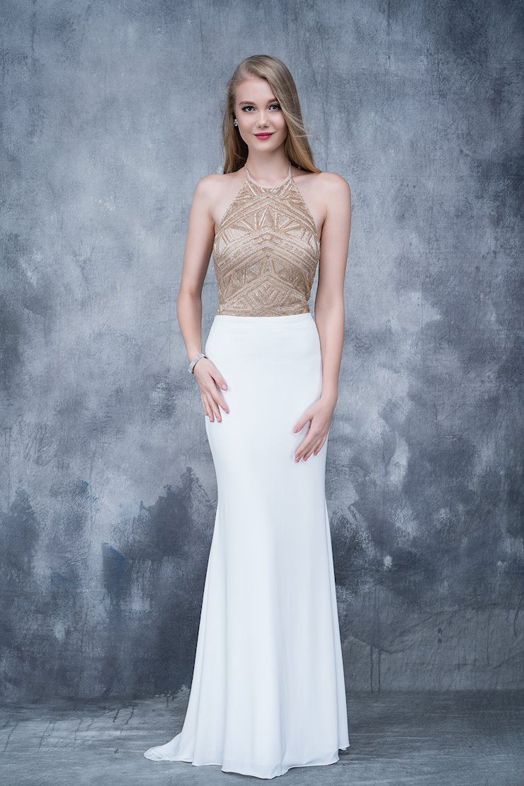 Nina Canacci Ivory Embellished Jersey Prom Dress
