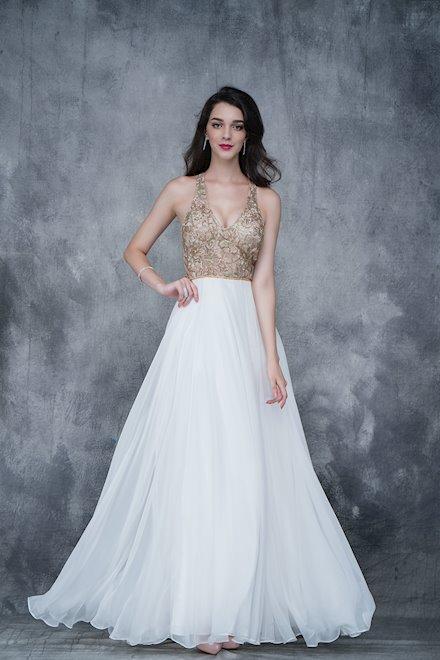 Long Ivory Chiffon Prom Dress