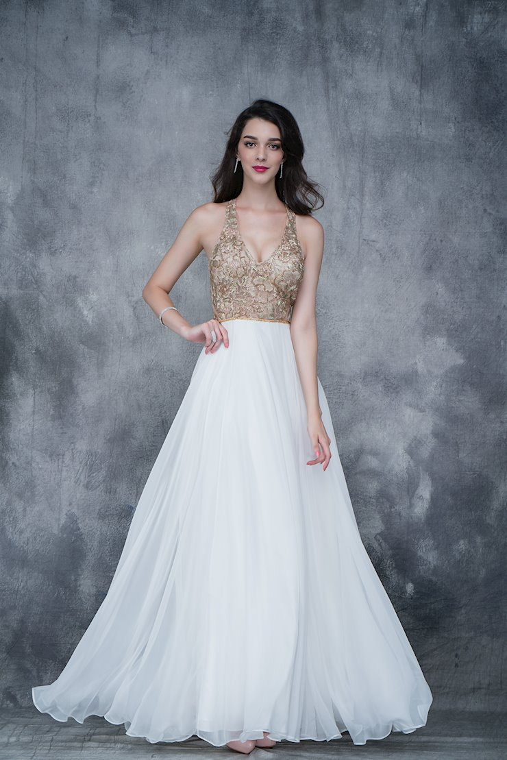 Nina Canacci Long Ivory Chiffon Prom Dress